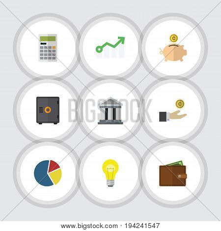 Flat Icon Gain Set Of Billfold, Money Box, Calculate And Other Vector Objects. Also Includes Billfold, Safe, Bank Elements.