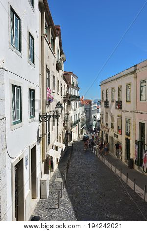 Old Streets In The Historical Part Of Lisbon Alfama. Portugal