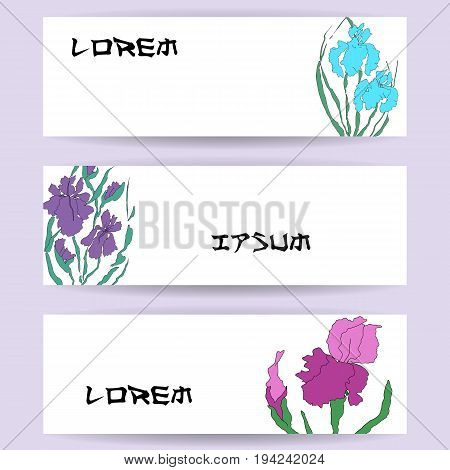 Three templates of horizontal banners. Illustration with hand-drawing illustration, vectorized irises. Stylized traditional Chinese painting, Japanese art sumi-e, vector