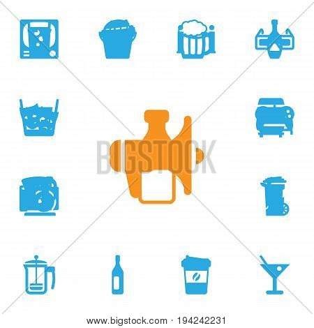 Set Of 13 Drinks Icons Set.Collection Of Cognac, Soda, Lemonade And Other Elements.