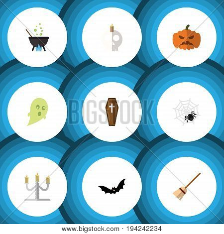 Flat Icon Halloween Set Of Pumpkin, Spinner, Phantom And Other Vector Objects. Also Includes Bat, Magic, Candle Elements.
