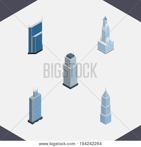 Isometric Building Set Of Residential, Business Center, Exterior And Other Vector Objects. Also Includes Residential, Business, Exterior Elements.