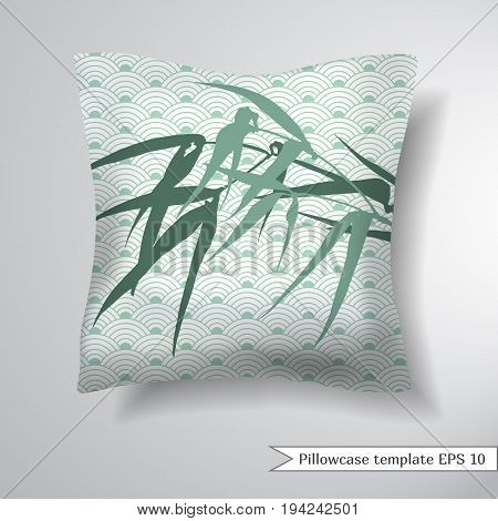 Creative sofa square pillow. Decorative pillowcase design template. Pattern with bamboo. Background with traditional Asian ornament from of stylized waves or fan. Vector illustration.