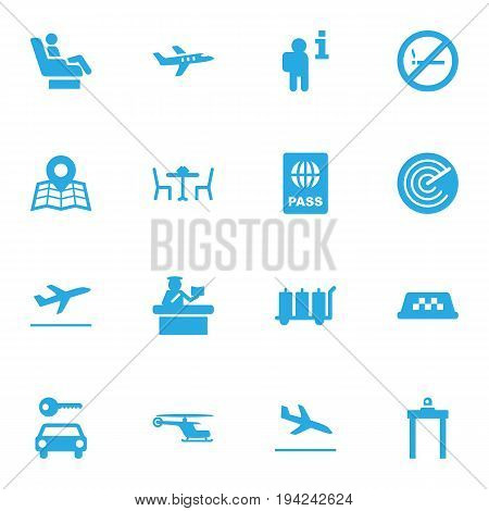 Set Of 16 Aircraft Icons Set.Collection Of Restaurant, Metal Detector, Forbidden And Other Elements.