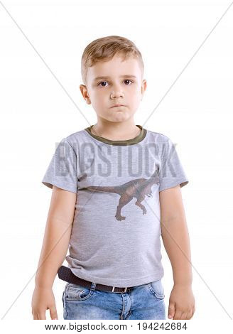 Charming little boy in casual clothing isolaten on a white background. A cute little boy is sad. A beautiful preschooler boy  in a grey t-shirt.