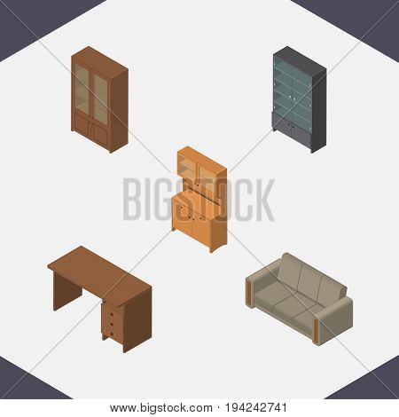 Isometric Design Set Of Sideboard, Table, Cabinet And Other Vector Objects. Also Includes Closet, Table, Drawer Elements.