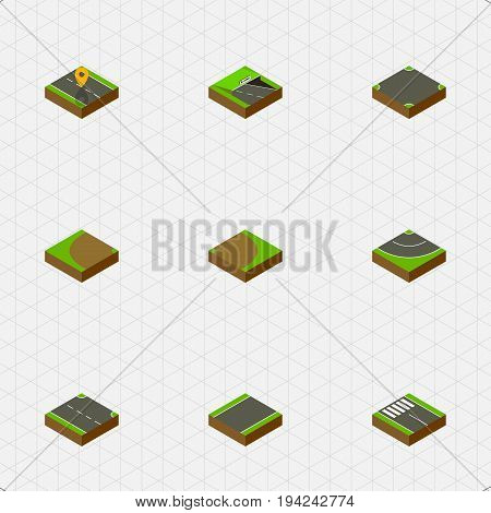 Isometric Road Set Of Strip, Crossroad, Road And Other Vector Objects. Also Includes Turning, Strip, Crossroad Elements.