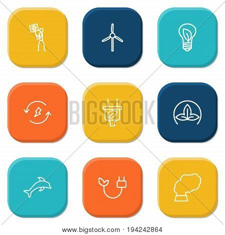 Set Of 9 Bio Outline Icons Set.Collection Of Electricity, Ecologist, Renewable Energy And Other Elements.