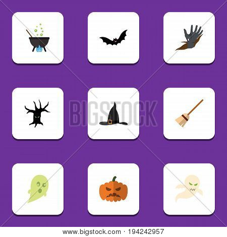 Flat Icon Halloween Set Of Witch Cap, Magic, Phantom And Other Vector Objects. Also Includes Gourd, Creepy, Phantom Elements.