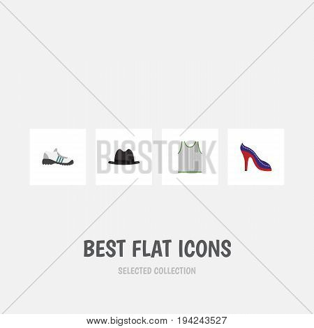 Flat Icon Dress Set Of Singlet, Panama, Heeled Shoe And Other Vector Objects. Also Includes Shoes, Sneakers, Gumshoes Elements.