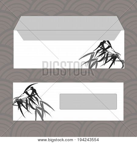Envelopes for letters, front and back. Hand-drawing ink illustration. Bamboo leaves, traditional Chinese painting, Japanese art sumi-e, vector