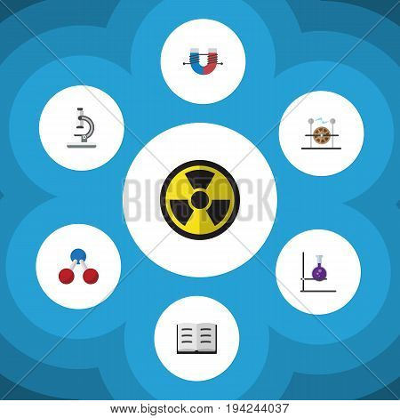 Flat Icon Study Set Of Attractive Force, Electrical Engine, Irradiation And Other Vector Objects. Also Includes Flask, Microscope, Irradiation Elements.