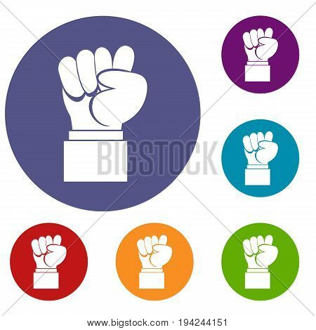 Raised up clenched male fist icons set in flat circle reb, blue and green color for web