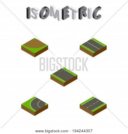 Isometric Road Set Of Driveway, Turn, Way And Other Vector Objects. Also Includes Plane, Flat, Bitumen Elements.