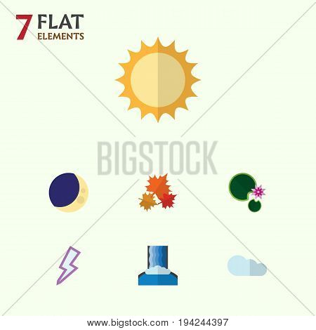 Flat Icon Ecology Set Of Canadian, Lotus, Solar And Other Vector Objects. Also Includes Overcast, Moon, Lily Elements.