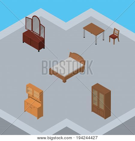 Isometric Furniture Set Of Drawer, Cupboard, Bedstead And Other Vector Objects. Also Includes Wardrobe, Sideboard, Bed Elements.