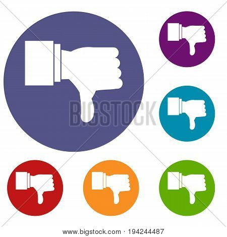 Thumb down gesture icons set in flat circle reb, blue and green color for web