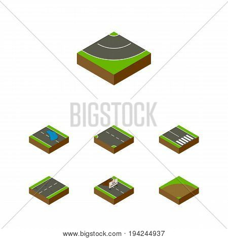 Isometric Road Set Of Repairs, Sand, Pedestrian Vector Objects. Also Includes Strip, Puddle, Earthquake Elements.