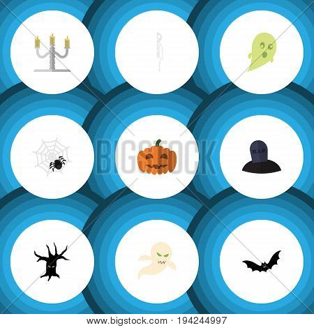 Flat Icon Halloween Set Of Tomb, Spinner, Skeleton And Other Vector Objects. Also Includes Bones, Halloween, Pumpkin Elements.