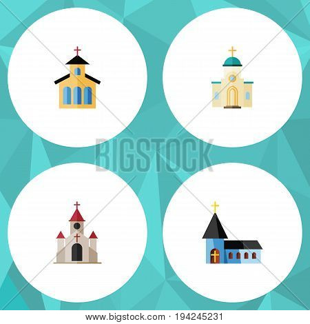 Flat Icon Church Set Of Christian, Catholic, Traditional And Other Vector Objects. Also Includes Structure, Church, Architecture Elements.