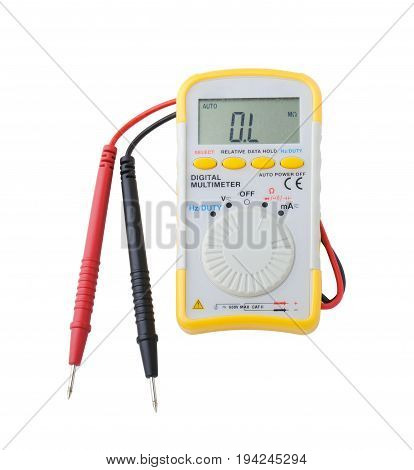 The multimeter with cables isolated on white