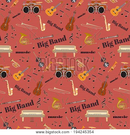 Vector seamless pattern with jazz big band musical instruments. Grand piano, drum kit, guitar, clarinet, sax, french horn, trumpet, trombone and double bass, treble clef in flat style.