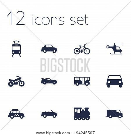 Set Of 12 Traffic Icons Set.Collection Of Wagon, Taxicab, Streetcar And Other Elements.