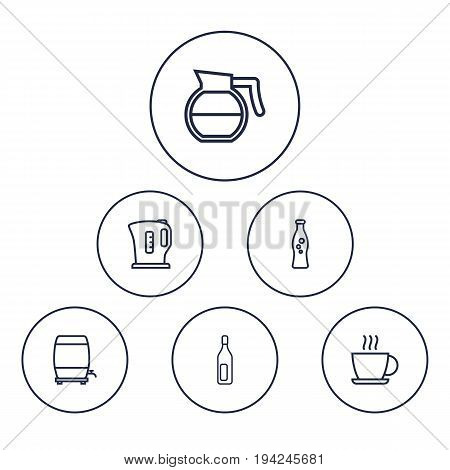 Set Of 6 Beverages Outline Icons Set.Collection Of Hot Drink, Coffeepot, Soda And Other Elements.