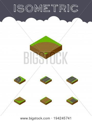 Isometric Way Set Of Cracks, Asphalt, Incomplete And Other Vector Objects. Also Includes Turn, Sand, Asphalt Elements.