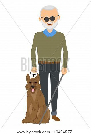 Senior blind man standing with guide dog isolated over white background