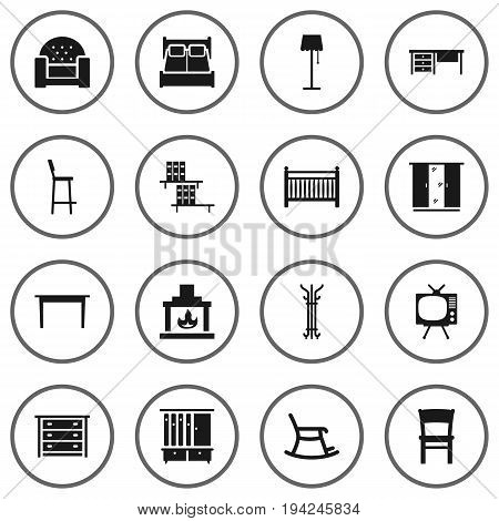 Set Of 16 Decor Icons Set.Collection Of Wardrobe, Worktop, Bookcase And Other Elements.