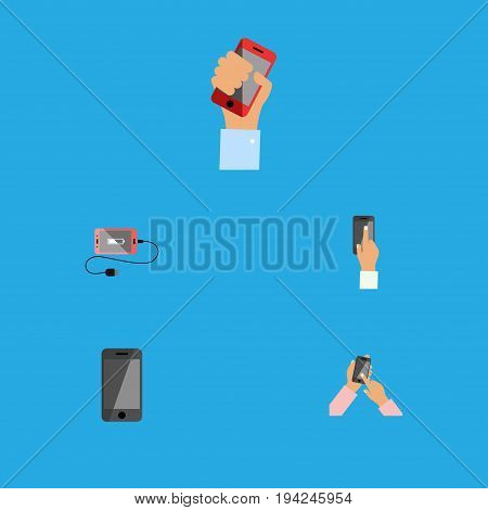 Flat Icon Phone Set Of Telephone, Cellphone, Touchscreen And Other Vector Objects. Also Includes Holding, Phone, Interactive Elements.