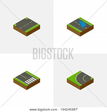 Isometric Way Set Of Pedestrian, Plash, Way And Other Vector Objects. Also Includes Up, Puddle, Pedestrian Elements.