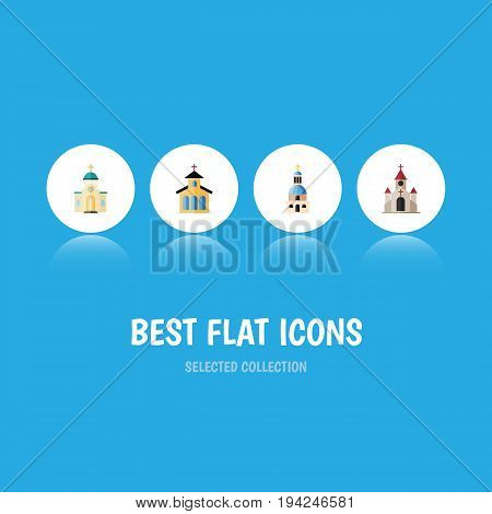 Flat Icon Building Set Of Catholic, Traditional, Religious And Other Vector Objects. Also Includes Building, Catholic, Architecture Elements.