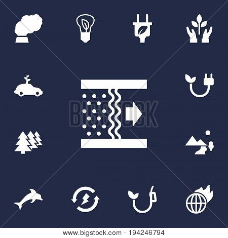 Set Of 13 Atmosphere Icons Set.Collection Of Reforestation, Contamination, Car And Other Elements.