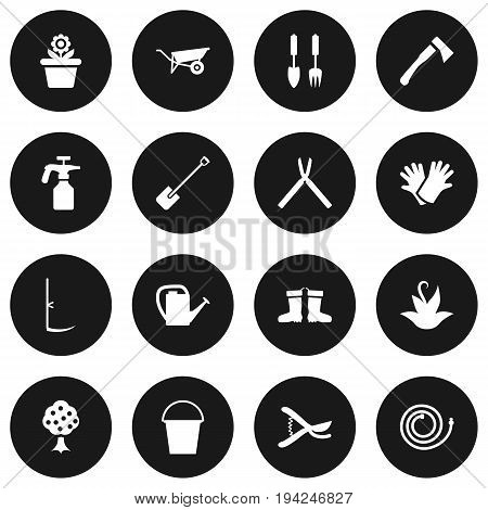Set Of 16 Household Icons Set.Collection Of Flowerpot, Bucket, Plant And Other Elements.