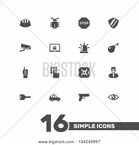 Set Of 16 Procuring Icons Set.Collection Of Shot, Security Man, Camera And Other Elements.