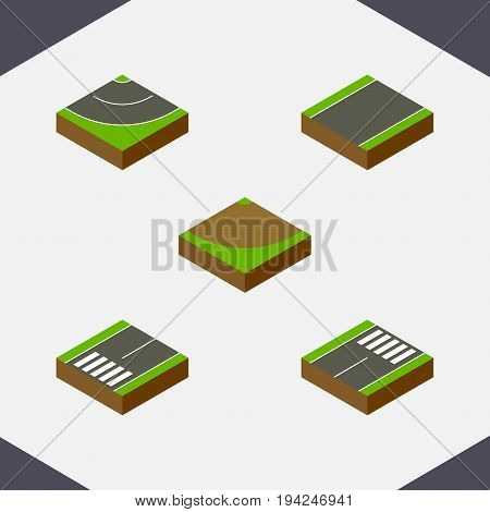 Isometric Road Set Of Footer, Turn, Unilateral And Other Vector Objects. Also Includes Bitumen, Turn, Footpassenger Elements.