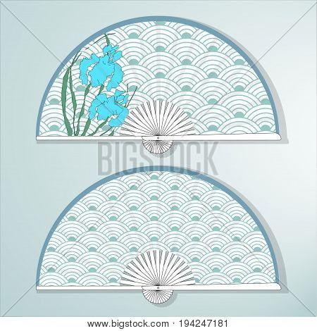 Vector illustration of two Asian folding paper fans. Blue irises. Background with a traditional Oriental pattern of stylized waves