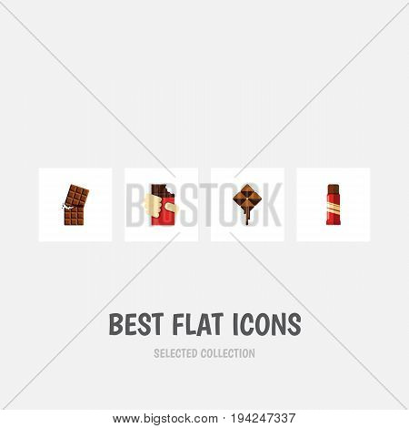 Flat Icon Chocolate Set Of Sweet, Wrapper, Shaped Box And Other Vector Objects. Also Includes Delicious, Shaped, Sweet Elements.