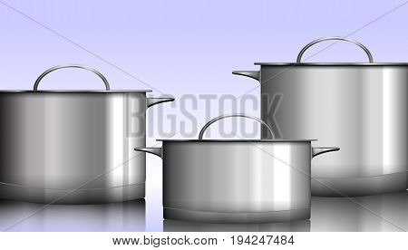 Group of stainless steel kitchenware isolated on white Vector illustration