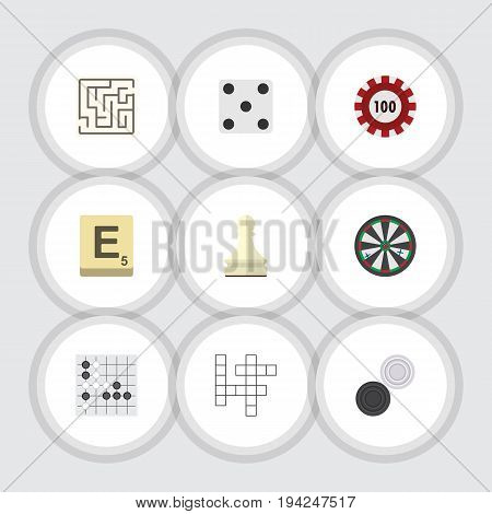 Flat Icon Play Set Of Chequer, Guess, Poker And Other Vector Objects. Also Includes Alphago, Checkers, Labyrinth Elements.