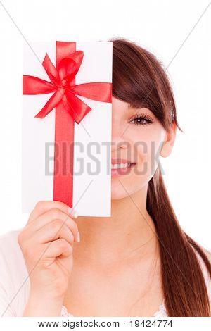 Holding gift card bonus female smiling