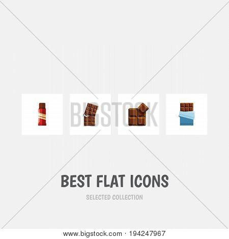 Flat Icon Chocolate Set Of Cocoa, Bitter, Wrapper And Other Vector Objects. Also Includes Shaped, Cocoa, Confection Elements.
