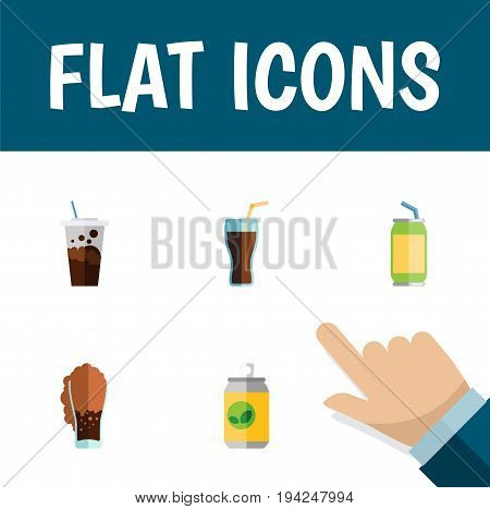 Flat Icon Drink Set Of Carbonated, Drink, Beverage And Other Vector Objects. Also Includes Drink, Fizzy, Cup Elements.