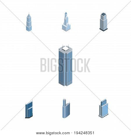 Isometric Construction Set Of Urban, Building, Cityscape And Other Vector Objects. Also Includes Cityscape, Skyscraper, Business Elements.