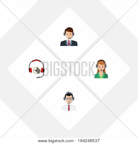 Flat Icon Telemarketing Set Of Help, Headphone, Hotline And Other Vector Objects. Also Includes Headset, Operator, Earphone Elements.