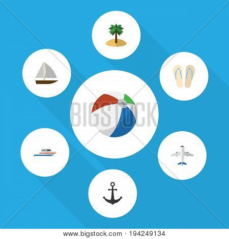 Flat Icon Summer Set Of Aircraft, Coconut, Sphere And Other Vector Objects. Also Includes Aircraft, Plane, Hook Elements.