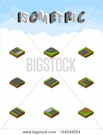 Isometric Road Set Of Unfinished, Crossroad, Flat And Other Vector Objects. Also Includes Turn, Sand, Intersection Elements.