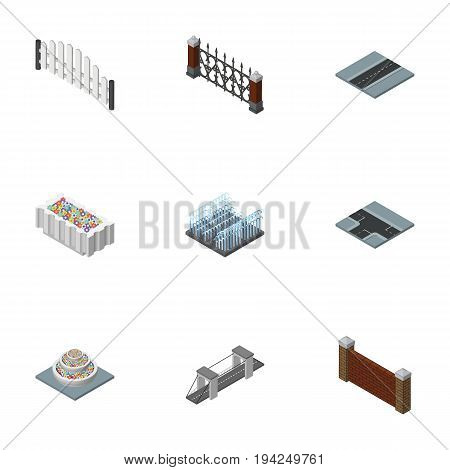 Isometric City Set Of Barrier, Barricade, Plants And Other Vector Objects. Also Includes Crossroad, Wall, Water Elements.